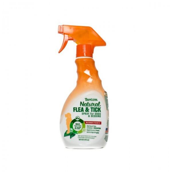 Spray natural adjuvant în combaterea căpuşelor şi puricilor pentru animale & aşternut TROPICLEAN FLEA & TICK  FOR PETS