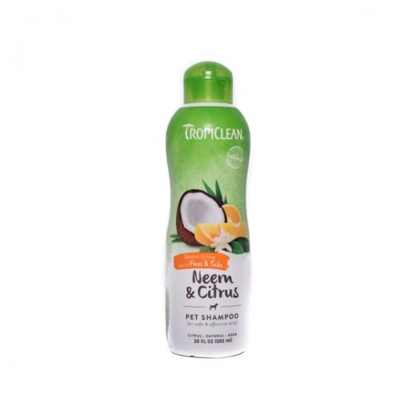 Şampon TROPICLEAN NEEM & CITRUS – Adjuvant în calmarea pruritului cauzat de muşcături de purici şi căpuşe