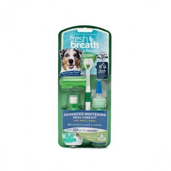 Kit igienă orală pentru câini talie mică cu efect de albire TROPICLEAN ADVANCED WHITENING