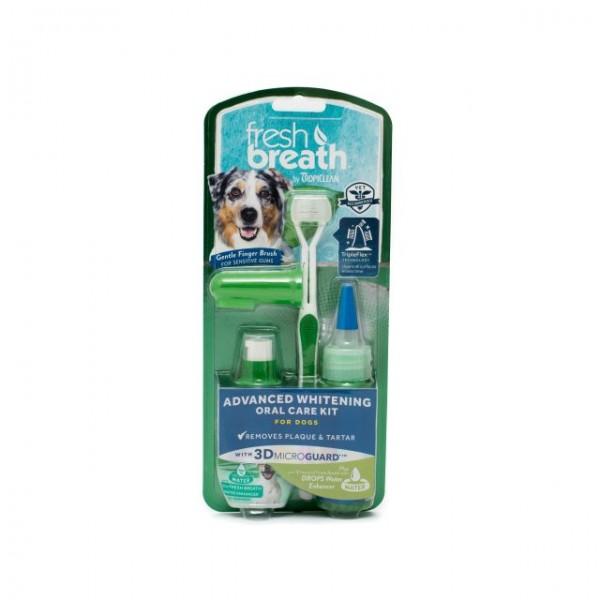 Kit igienă orală pentru câini cu efect de albire TROPICLEAN ADVANCED WHITENING